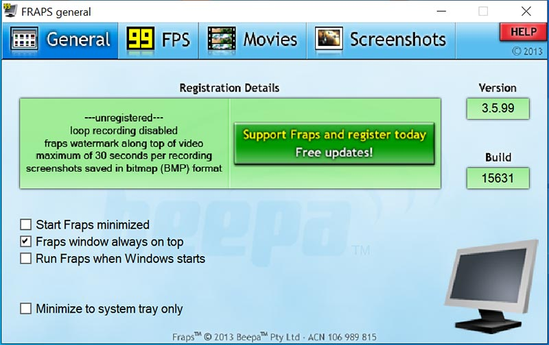 game recorder for Windows - Fraps