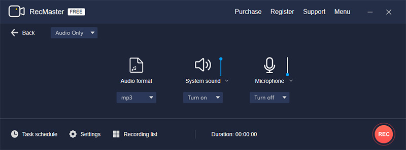 Use RecMaster Record Audio Only to Capture YouTube Audio